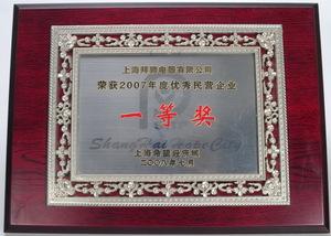 上海希望经济城2007.度好的民营企业1等奖