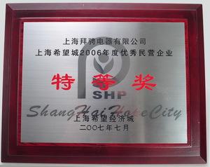 上海希望经济城2006.度好的民营企业特等奖